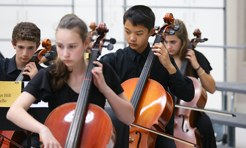 Photo from a Middle School Orchestra rehearsal