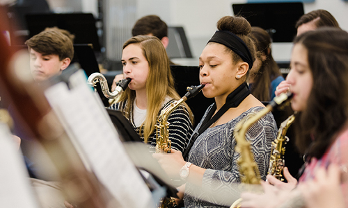 Photo from Upper School band rehearsal