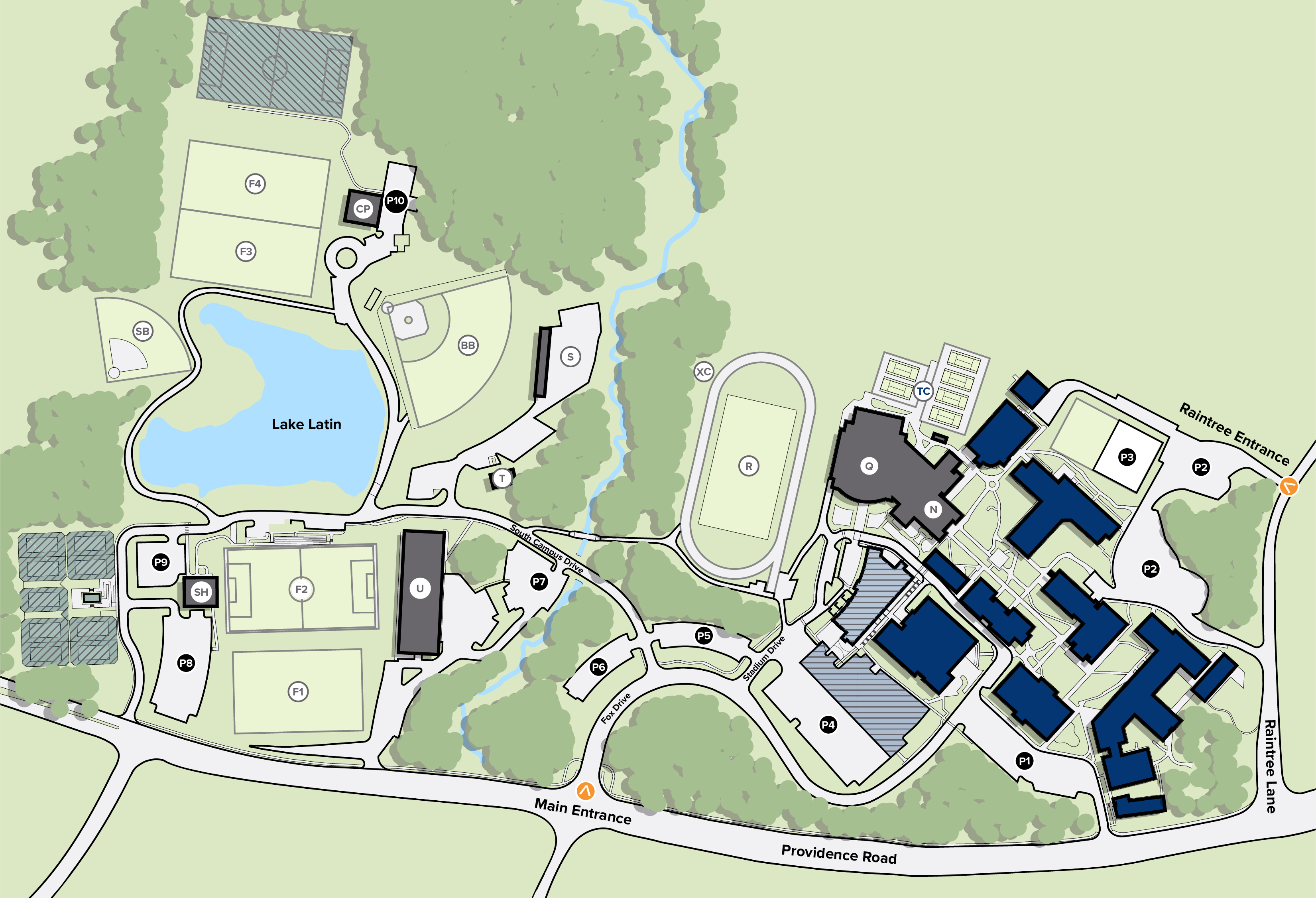 Under Armour Campus Map.Campus Map Charlotte Latin School